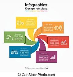 template., être, business, options, infographic, boîte, diagramme, design., disposition, toile, utilisé, flot travail, bannière, étape