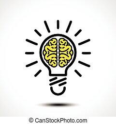 template., ベクトル, logotype, 脳, ロゴ, そのような物, 電球, 考え, アイコン, 企業である, ライト