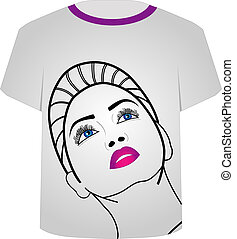template-, モデルt, 魅力, ワイシャツ