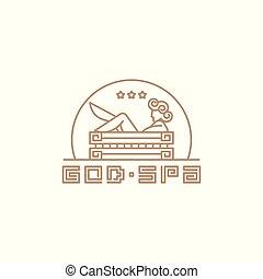 template., ロゴ, 女神, エステ, スタイル, bathroom., 線である