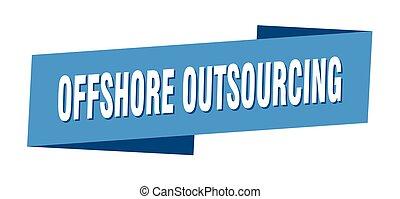 template., 沖合いに, 旗, リボン, ラベル, outsourcing, 印