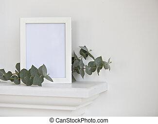 template., 白色, 照片框架, 空, mockup