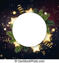 template., 空間, 矢量, 發光, 飛行物, 發光, 旗幟, text., 金, 花冠, 分支, 光, 或者, bulbs., 環繞, 星, 蜿蜒, 輪, 樅樹, 聖誕節