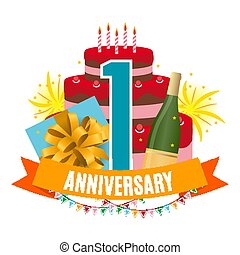 Template 1 Year Anniversary Congratulations, Greeting Card with Cake, Gift Box, Fireworks and Ribbon Invitation Vector Illustration