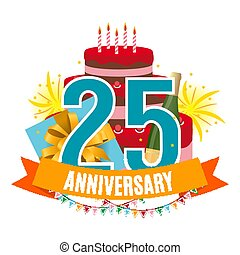 Template 25 Years Anniversary Congratulations, Greeting Card with Cake, Gift Box, Fireworks and Ribbon Invitation Vector Illustration