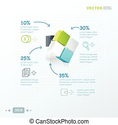 template 3D Cube green, blue, gray color
