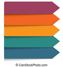 Template 5 positions infographic. Horizontal colorful arrows...