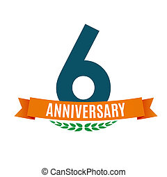 Template 6 Years Anniversary Background with Ribbon Illustration