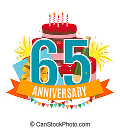 Template 65 Years Anniversary Congratulations, Greeting Card with Cake, Gift Box, Fireworks and Ribbon Invitation Illustration
