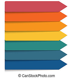 Template 7 positions infographic. Horizontal colorful arrows...