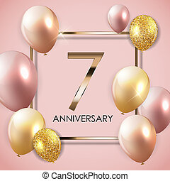 Template 7 Years Anniversary Background with Balloons Illustration