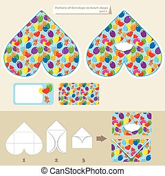 Template and scheme of envelope in heart shape. Pattern with Ted