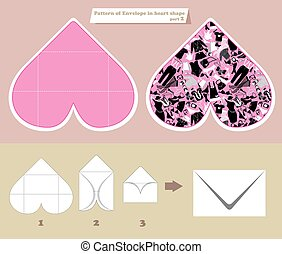 Template and scheme of envelope in heart shape. Pattern with wom