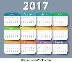 template., année, vecteur, 2017, conception, calendrier