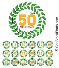 Template Anniversary in Laurel Wreath Set Vector Illustration
