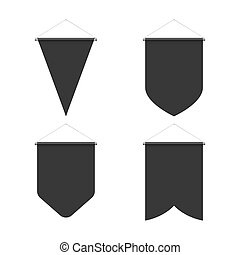 Pennant Set - Template Black Blank Realistic Pennant Set on...