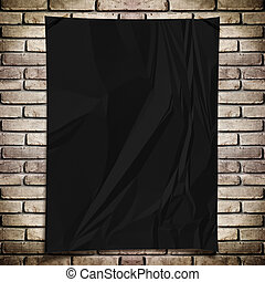 Template- Black crumpled rectangle Poster on grunge brick wall