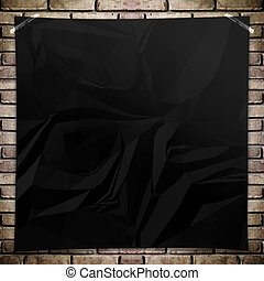 Template- Black crumpled square Poster on grunge brick wall