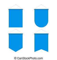Pennant Set - Template Blue Blank Realistic Pennant Set on...
