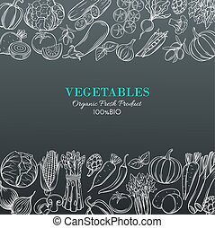 template borders with hand drawn vegetables