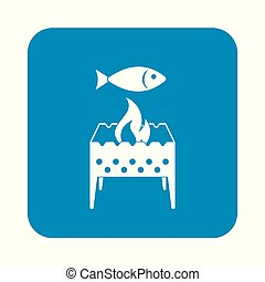 template - Brazier grill with fish icon. Vector illustration