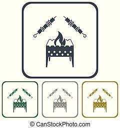 template - Brazier grill with kebab icon. Vector...