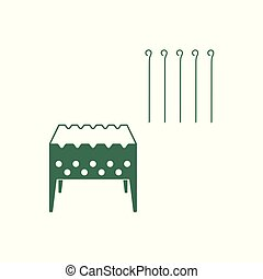 template - Brazier grill with skewers icon. Vector...