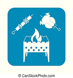 template - Brazier zephyr, kebab and chicken . Vector...