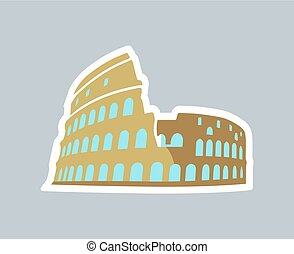 Template Card of Rom Coliseum Vector Illustration