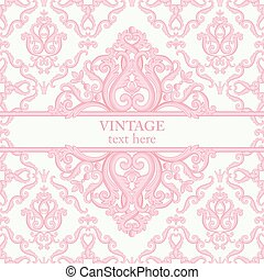 Template card with abstract baroque royal background in pink and white colors.