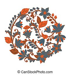 template card with circle arrangement made from blue flowers and