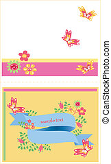 template card with flowers