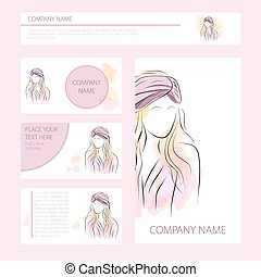 Template cards and banners with woman in turban