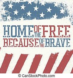 template., carte, 4 juillet, indépendance, conception, célébration, patriotique, jour, affiche, salutation