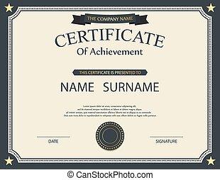 template., certificaat, vector