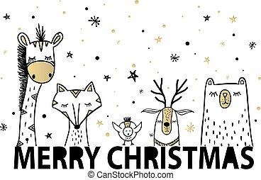 Template Christmas greeting card with a deer, fox and bear, giraffe
