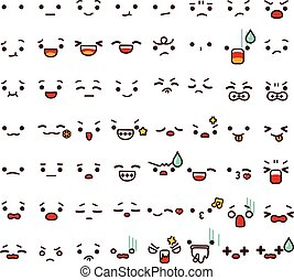 Collection of cute lovely emoticon emoji Doodle cartoon face , smile , happy , sad , shock , bored , sick , vomit , scream , joy , cry in childlike manga cartoon style - Vector file EPS10