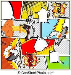 Template comic book page with warships. Comic book page divided by lines with speech bubbles and sounds effect. Military pop art ships that explode. Vector retro background mock-up