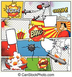 Template comic book page with warships. Pop art ships that explode. Military action. Comic book page divided by lines with speech bubbles superhero and sounds effect. Retro background mock-up