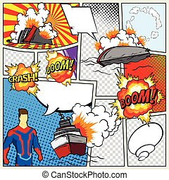 Template comic book page with warships. Vector retro background mock-up. Comic book page divided by lines with speech bubbles superhero and sounds effect. Pop art ships that explode