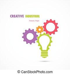 template., concept., affari, vettore, bandiera, logotype, disegno, simbolo., industriale, bulbo, ingranaggio, astratto, creativo, corporativo, luce