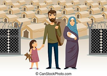 template., concept., arabe, conception, refugees., refugees, immigration, family., assistance, social, infographic.