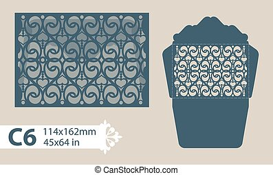 Template congratulatory envelope with carved openwork...