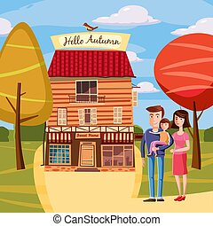Template Design autumn poster, brochures, posters, postcards Hello autumn, family, characters, house. Landscape, cartoon style. Vector. Isolated