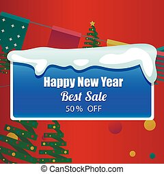 Template design christmas banner Happy new year