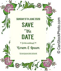 Template design for card save the date, with ornament art of rose wreath frame. Vector