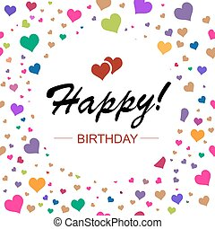 Template design for horizontal card. Happy birthday in circle on