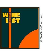 Template design for wine list.