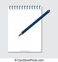 Template design for your project with white notes and pencil. vector illustration EPS 10