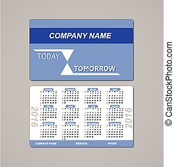 template design pocket calendar 2016 with place for the company logo. vector
